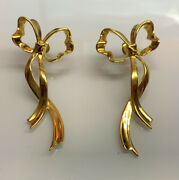 Vintage 1985 And Co. 18k Yellow Gold Long Dangle Xmas Bow Earrings Rare