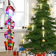 Christmas Led Light Signs Decorations Yard Stakes Garden Lawn Decor Xmas