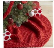 2018 Crate And Barrel Red Cozy Weave Tree Skirt 34 X84 Christmas 🎄 Sold Out