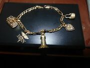 Vintage 14k Yellow Gold Charm Bracelet With 5 New England Charms 8 1/2 18.6 G