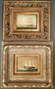 Set Of 2 Vintage H. Parker Tall Ship Oil Paitings Gold Gilded Signed Coa