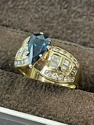 1.57 Ct Blue Sapphire 1.20 Ct Diamond 14k Yellow Gold Ring Gia Cert And Appraisal