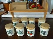 Eight Arabia Finland Spice Jars With Cork Stoppers And Display Rack