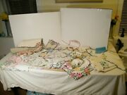 72 Lot 37 Vtg. Table Dresser Chair Cloth Toppers Runners Openwork Cutwork