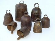 Lot Of 25 Antique 1900and039s Vintage Metal Cow Bell Hand Carved Collectible Art