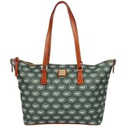 Dooney And Bourke New York Jets Zip Top Shopper Large Bag Nwt