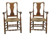 F32487ec Pair Wallace Nutting Signed Rush Seat Cherry Armchairs