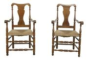 F32486ec Pair Signed Wallace Nutting Rush Seat Armchairs