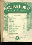 Golden Hours Selection Sheet Music For Piano Book 12 Vintage 1931 Poor Condition