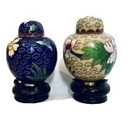 Antique Chinese Blue And Ivory Mini Vases With Lid And Stand