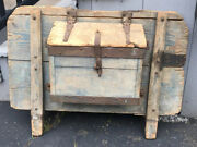 Early 19th Century Antique Painted Wood Conestoga Wagon Box Wrought Iron Faded