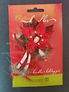 New Dept 56 Patience Brewster Christmas Krinkles Mini Red Poinsettia Pin
