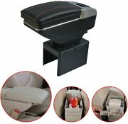 Universal Leather Car Armrest Box Center Console With Ashtray And Cup Holder Black