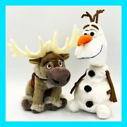 """Disney And Just Play Frozen Olaf Snowman And Sven Moose 9"""" Plush Stuffed Toy Clean"""