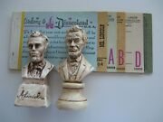 Vintage Disneyland Ticket Booklet-mr.lincoln Dated June 1965 And 2 Lincoln Statues