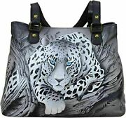 Anuschka African Leopard Hand Painted Leather Large Shoulder Tote - Nwt