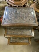 3 Vintage Chinese Rosewood Hand Carved Nautical Ship Nesting Stacking Tables