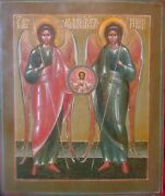 Antique Rare Hand Painted Russian Icon Of St.mihail St.michael And St.gabriel