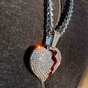 Big Huge Broken Heart Pendant Flooded Out Cuban Chain Iced Bling Silver Tone 30