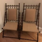Antique Pair Victorian Campaign Folding Chairs- Bamboo Style Frame Walnut