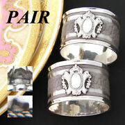 Pair Of Antique French .800 Nearly Sterling Silver Napkin Rings Wire Mesh