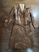 Vintage Suede Life Brown Leather Collared Trench Trench Coat Womens Size Small
