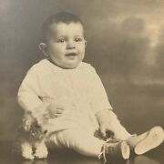 Antique Tri-fold Photograph Cabinet Card Little Boy Stuffed Toy Dog Reading Pa