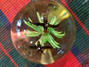 Vintage Flowers And Birds Art Glass Round Shape Paperweight Unique