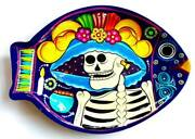 Authentic Mexican Pottery Folk Art Day Of The Dead Talavera Hanging Fish Plate 1