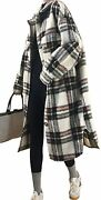 Womenand039s Lightweight Spread Collar Wool Blend Plaid Midi Shacket Trench Coat Bn M