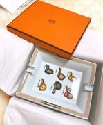 Hermes Porcelain Ashtray Plate Tray Ornament Dish Interior Auth Mint Unused