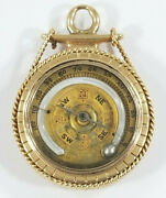 Antique 14k Gold Ships Compass Thermometer Wax Seal Fob Charm Rare