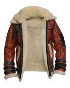 Menandrsquos Raf B3 Aviator Double Collar Shearling Sheep Skin Bomber Leather Jacket