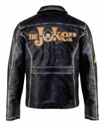 New Suicide Squad Joker Motorcycle Biker Distressed Black Real Leather Leather