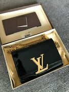 New Louis Vuitton Bold Lv Logo Patent Black Leather Cross Body Bag W/ Gold Chain