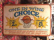 Vintage Carnival Amusement Park Painted Wood Basketball Skill Game Sign
