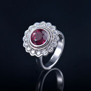 Solid 14k White Gold 9mm Burma Ruby Natural Diamond Ring