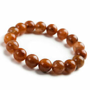 Natural Copper Rutilated Quartz Crystal Round Beads Wealthy Bracelet 12mm Aaaa