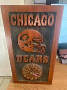 Heavy Wood Chicago Bears Clock Hand Made 20x11 Not Working Collectible
