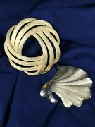 Two Vintage Crown Trifari Gold-tone Pins Brooches
