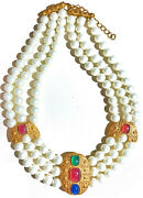 Vtg Jewelry 1980 Ruby Sapphire Emerald Gripoix Gold Faux Pearl Collar Necklace