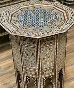 Antique Side Table End Table Wood Inlaid Mother Of Pearl 22.4x22.4