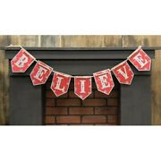 New Rustic Farmhouse Red Christmas Believe Banner Word Metal Wall Sign Garland