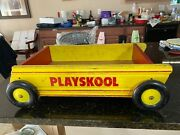 Rare Antique Playskool Vintage Yellow And Red Wooden Rolling Pull Toy Carry Blocks