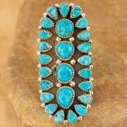 Brand New Navajo Sterling Silver Turquoise Cluster Adjustable Ring Signed Mh