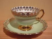 Circa 1952 Rosina Pale Green And Gold Teacup And Saucer Queen's Pottery Longton