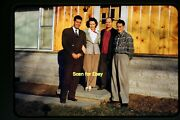 Pretty Older Woman And Men On House Porch Early 1950and039s Kodachrome Slide Aa 7-23a