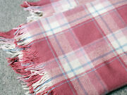 Vintage Faribo 100 Wool Blanket Pink Plaid Made In Usa Fringe Size 69 X 93