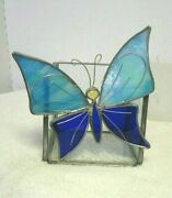 Iridescent Stain Glass Butterfly Blue Chip Glass Candle Box Silver Tone Wire