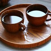 Wooden Tea Cup Beer Mugs With Handgrip Japanese Style Eco-friendly Kitchen Use